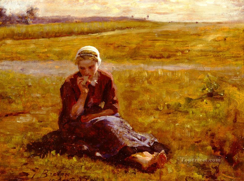 4 Afternoon Repast countryside Realist Jules Breton