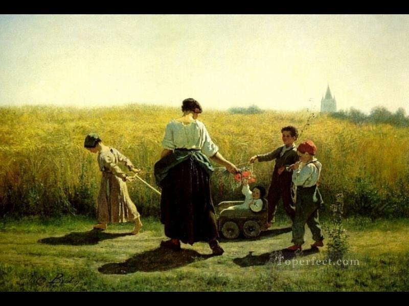 6 The Departure for the Fields countryside Realist Jules Breton
