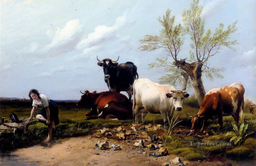 6 The Rustic Foot Bath farm animals cattle Thomas Sidney Cooper