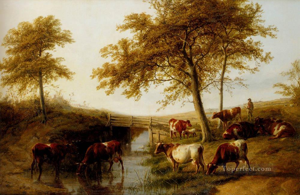 7 Cattle Resting By A Brook farm animals Thomas Sidney Cooper