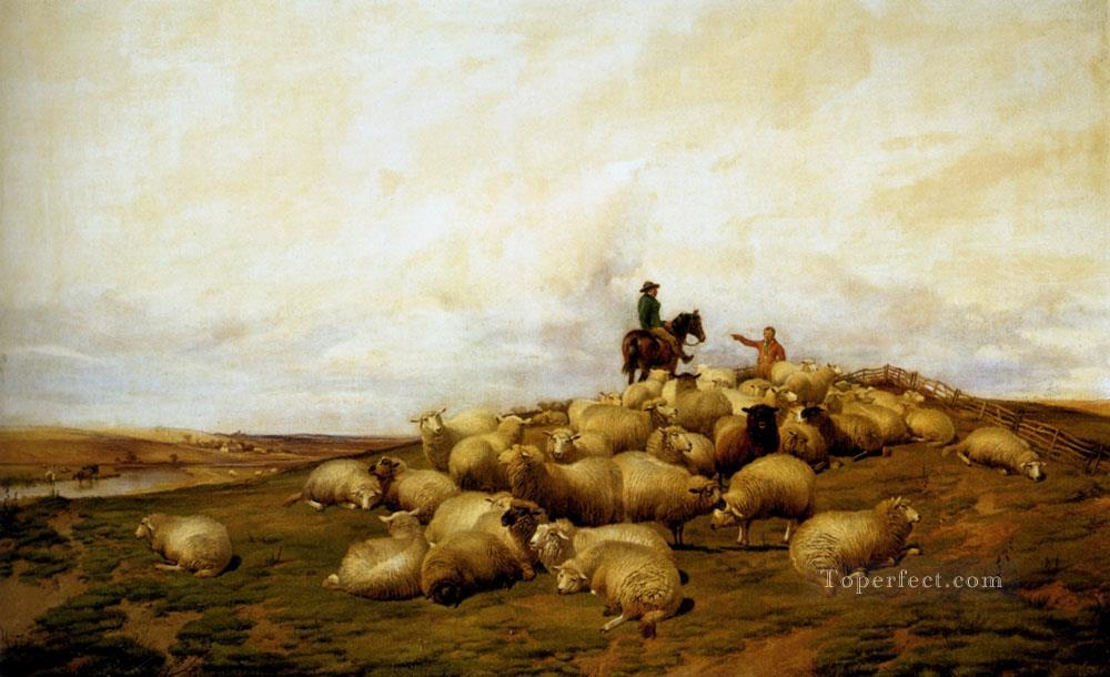 8 A shepherd With His Flock sheep farm animals Thomas Sidney Cooper