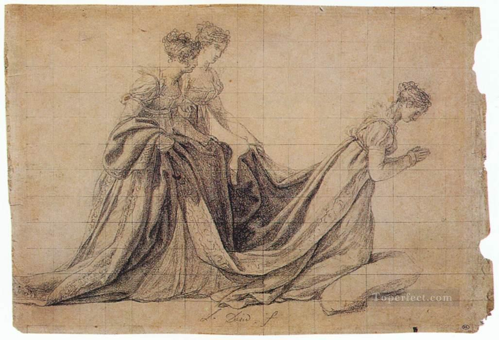 4 The Empress Josephine Kneeling with Mme de la Rochefoucauld and Mme de la Val Neoclassicism Jacques Louis David