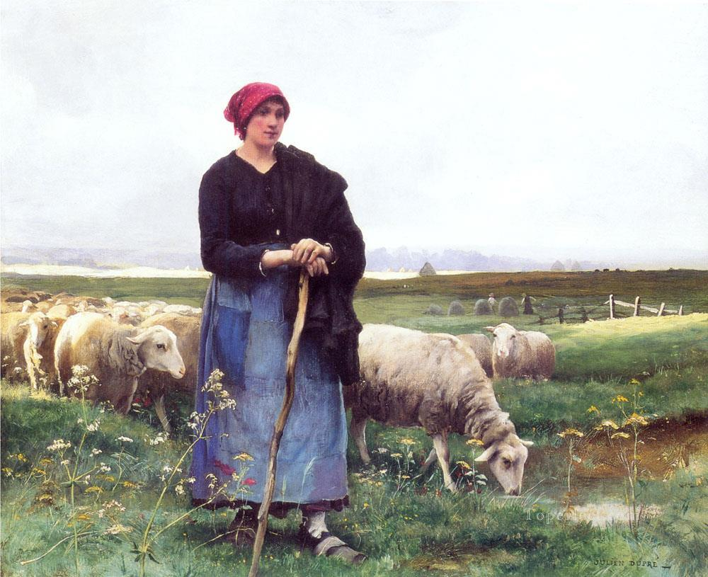 5 A Shepherdess with her flock farm life Realism Julien Dupre