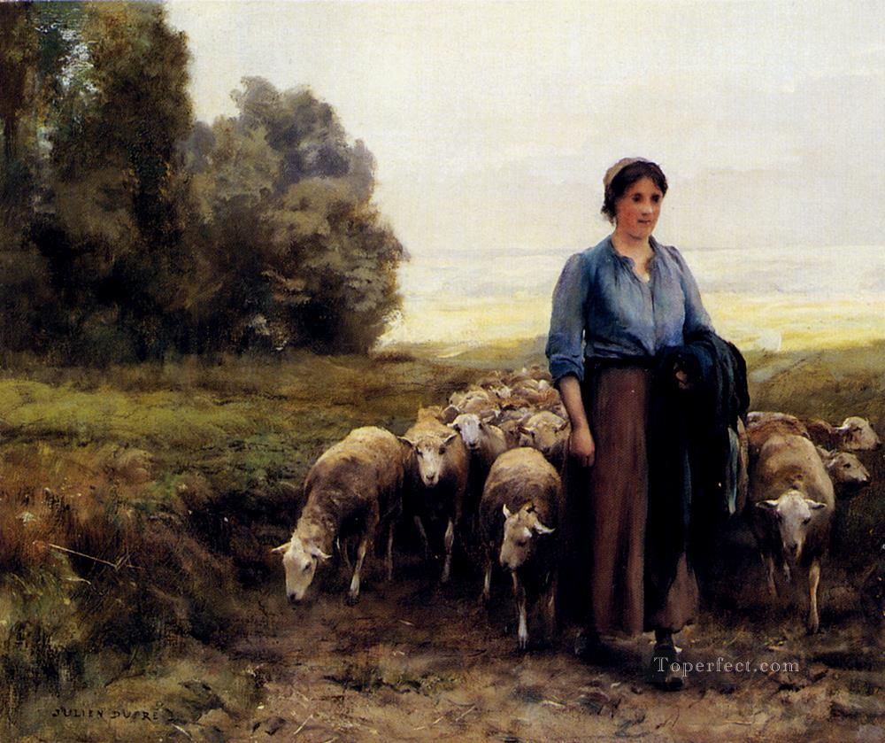6 Shepherdess With Her Flock farm life Realism Julien Dupre