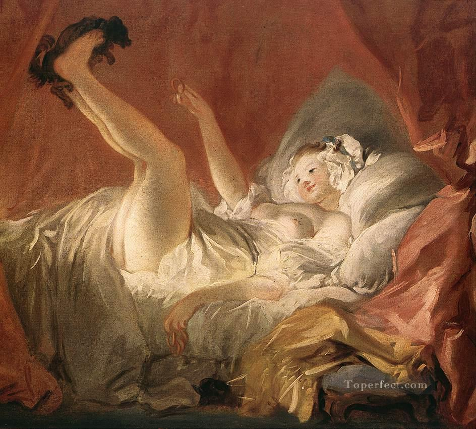 4 Young Woman Playing with a Dog Rococo hedonism eroticism Jean Honore Fragonard