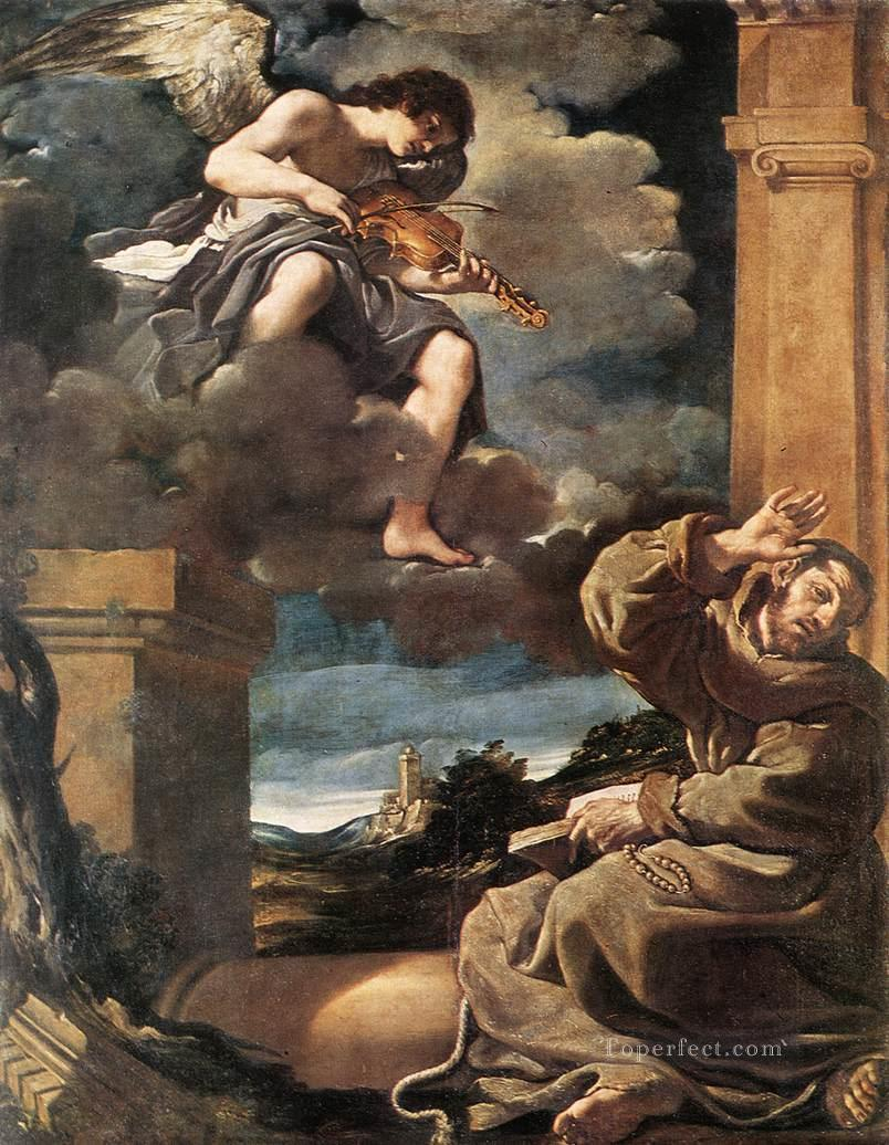 5 St Francis with an Angel Playing Violin Baroque Guercino
