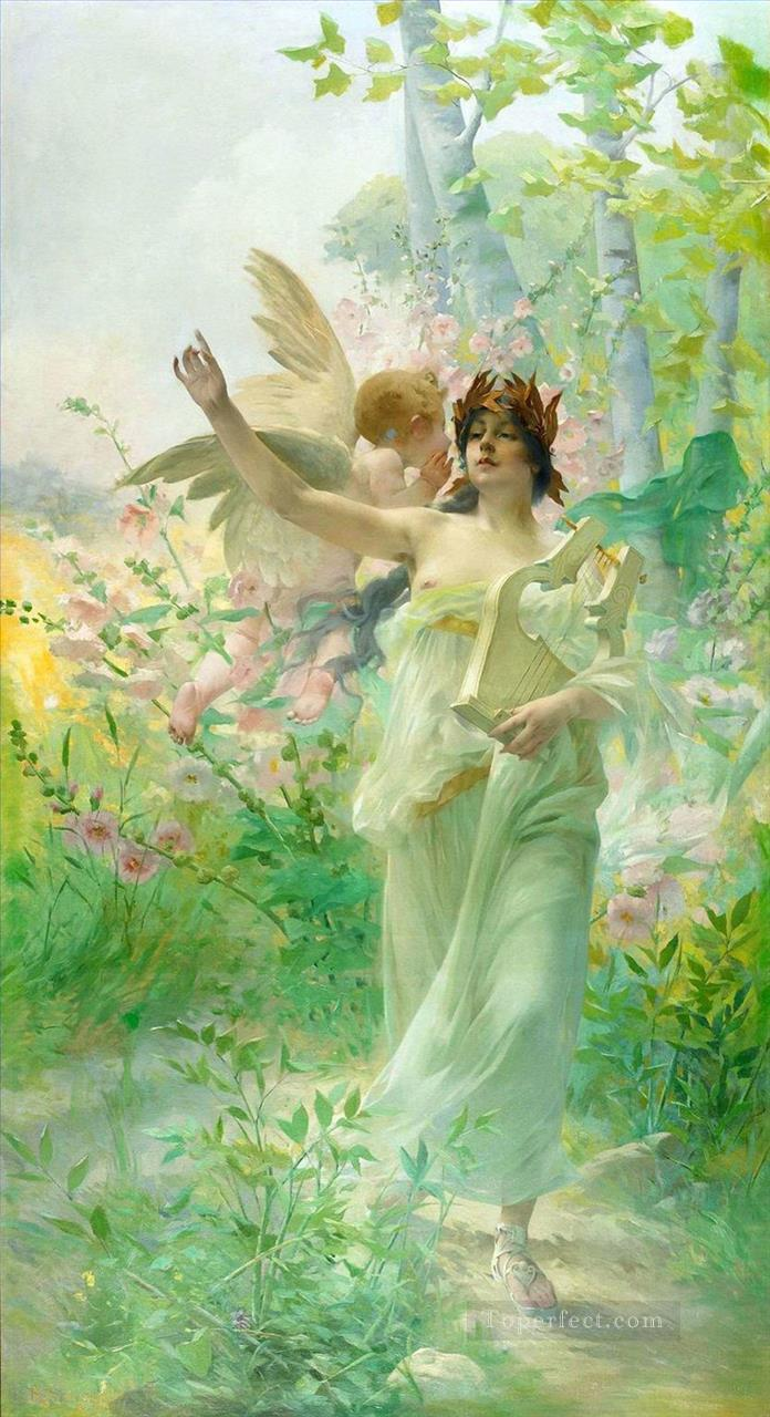 5 girl and angel Hans Zatzka