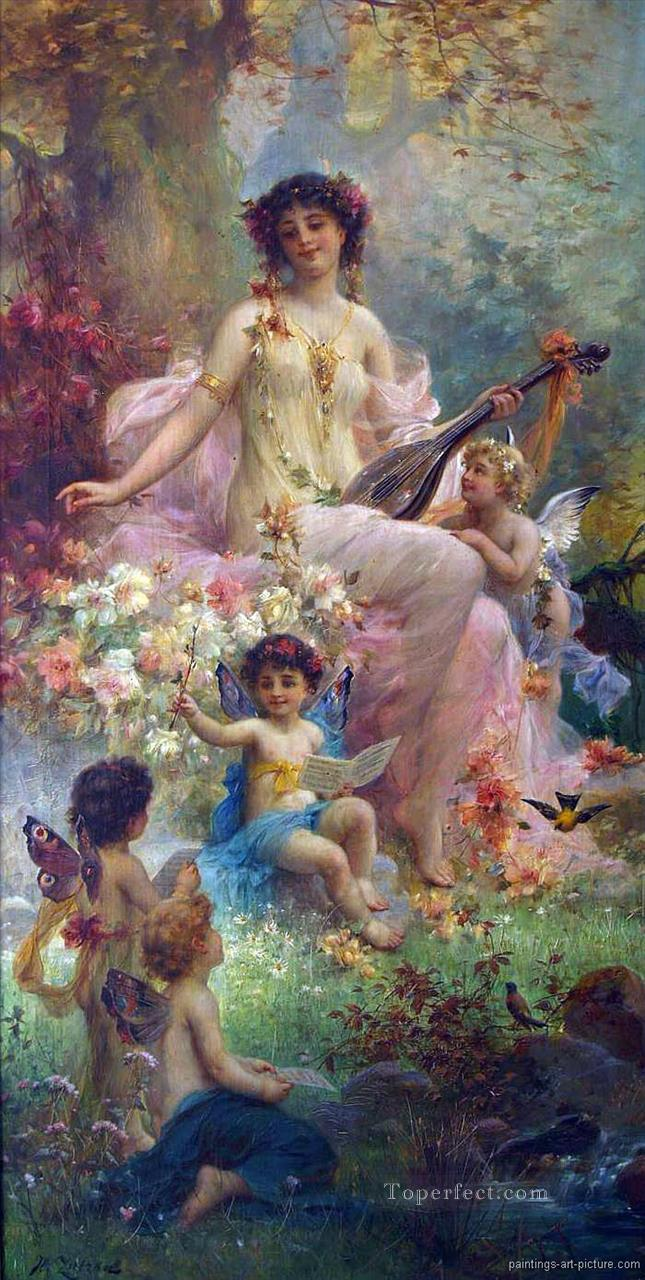 7 beauty playing guitar and floral angels Hans Zatzka
