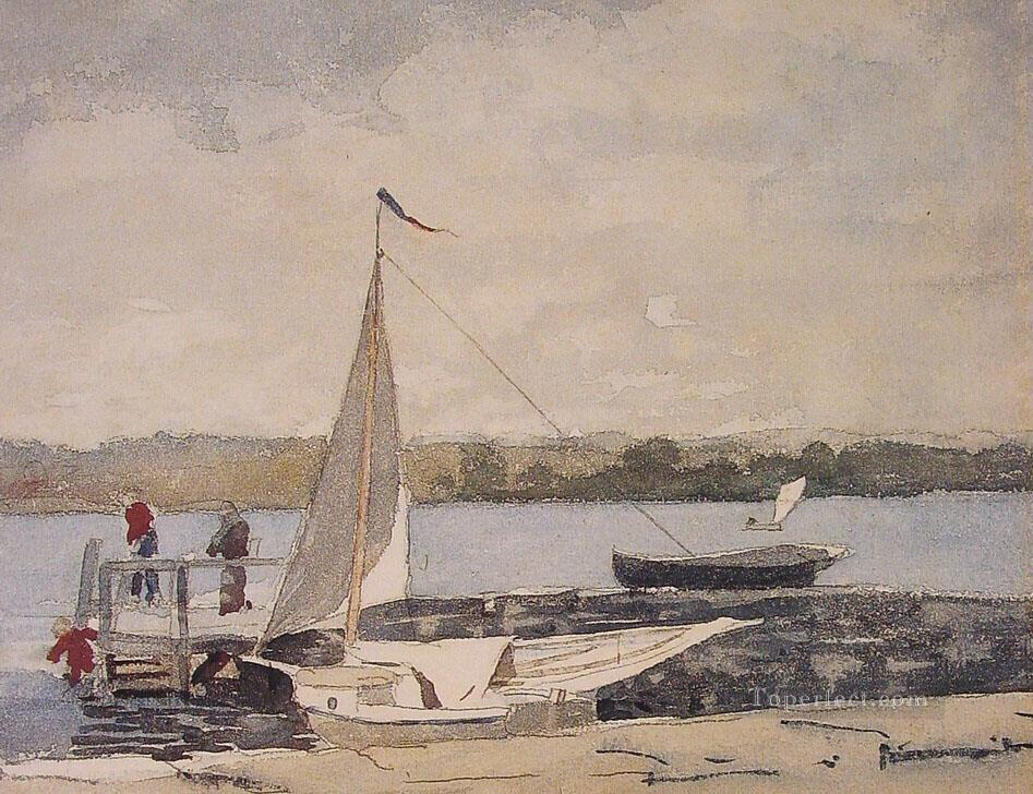 Sloop at a wharf gloucester realism marine painter winslow homer