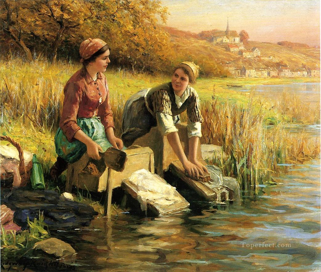 4 Women Washing Clothes by a Stream countrywoman Daniel Ridgway Knight