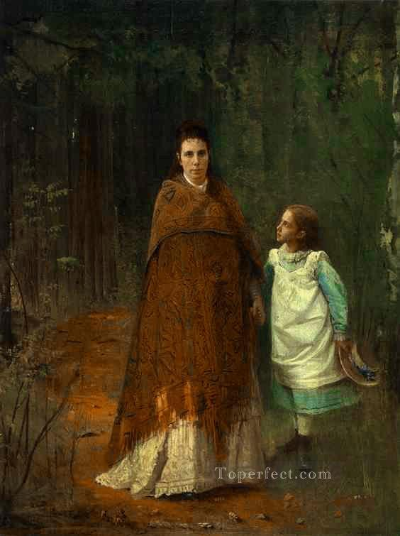 4 In the Park Portrait of the Artists Wife and Daughter Democratic Ivan Kramskoi