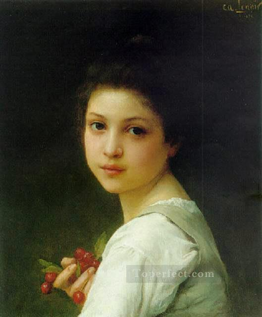 4 Portrait of a young girl with cherries realistic girl portraits Charles Amable Lenoir