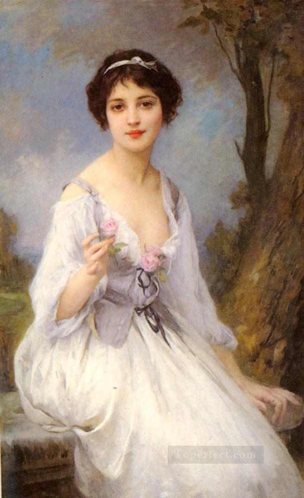 4 The Pink Rose realistic girl portraits Charles Amable Lenoir