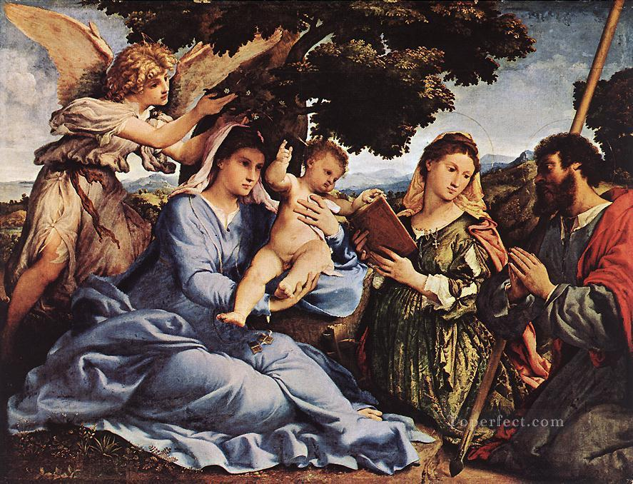 Renaissance Angel Painting 6 Madonna And Child With Saints And an Angel 1527 Renaissance Lorenzo Lotto
