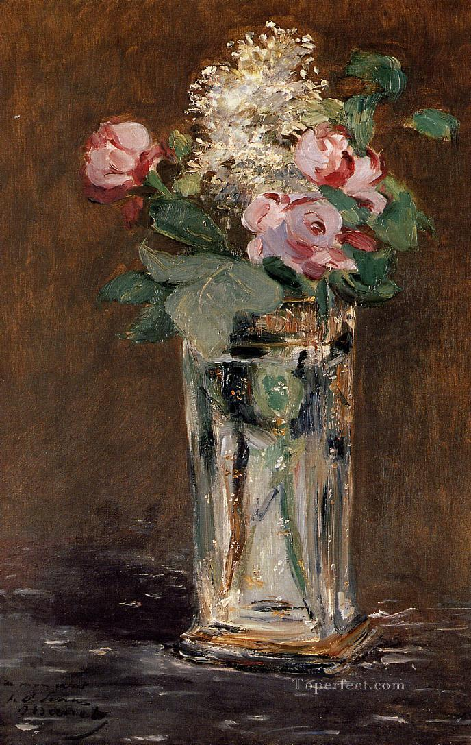 2 Flowers In A Crystal Vase flower Impressionism Edouard Manet