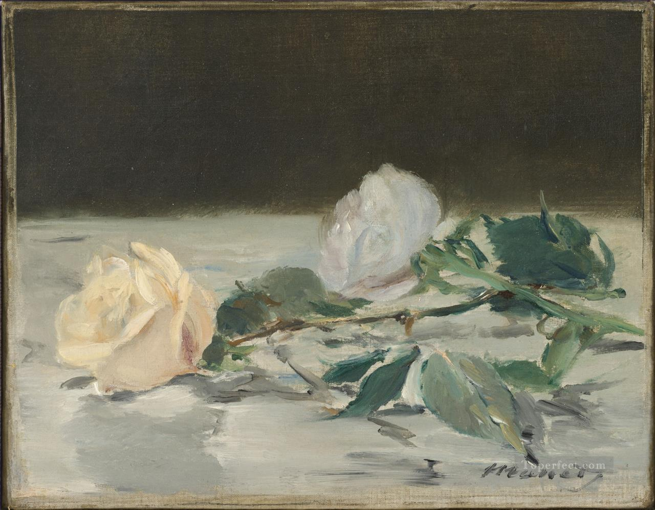 2 Two Roses On A Tablecloth flower Impressionism Edouard Manet