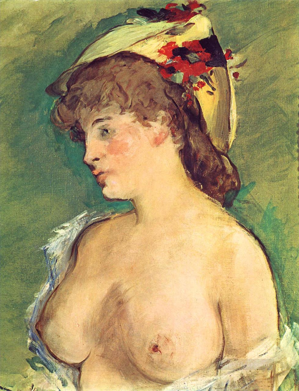 4 Blond Woman with Bare Breasts nude Impressionism Edouard Manet