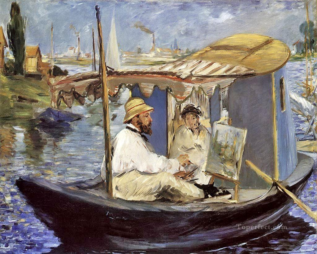 4 Claude Monet Working on his Boat in Argenteuil Realism Impressionism Edouard Manet