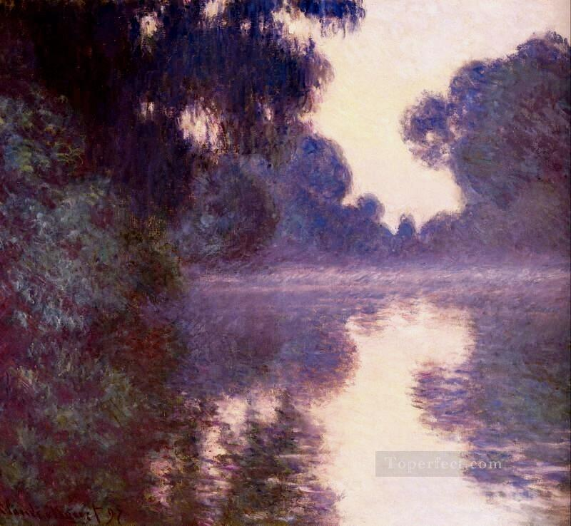 3 Misty morning on the Seine blue Claude Monet