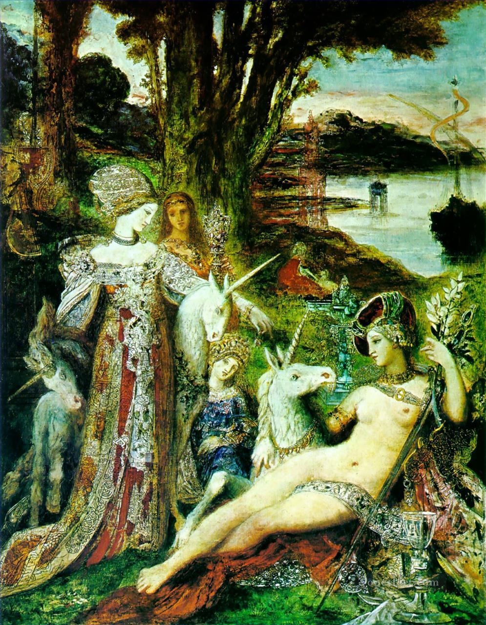 7 the unicorns Symbolism biblical mythological Gustave Moreau
