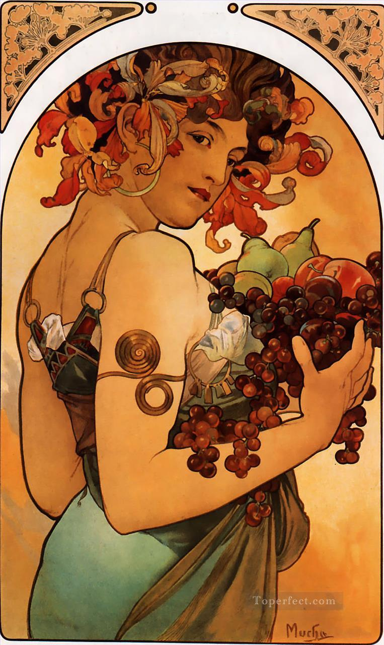 4 Fruit 1897 litho Czech Art Nouveau distinct Alphonse Mucha