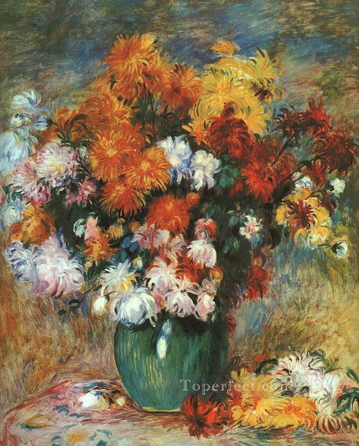 3 Vase of Chrysanthemums flower Pierre Auguste Renoir
