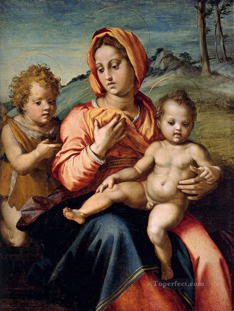 5 Madonna And Child With The Infant Saint John In A Landscape renaissance mannerism Andrea del Sarto