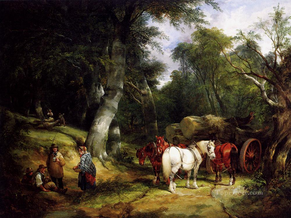 7 Carting Timber In The New Forest rural scenes William Shayer Snr