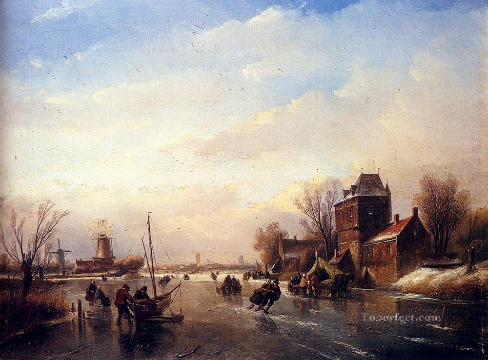 5 Skaters On A Frozen River boat Jan Jacob Coenraad Spohler