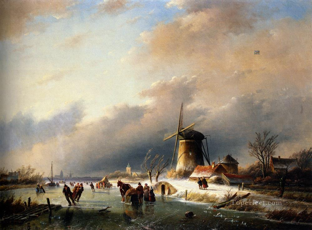 6 Figures Skating on a Frozen River landscape Jan Jacob Coenraad Spohler