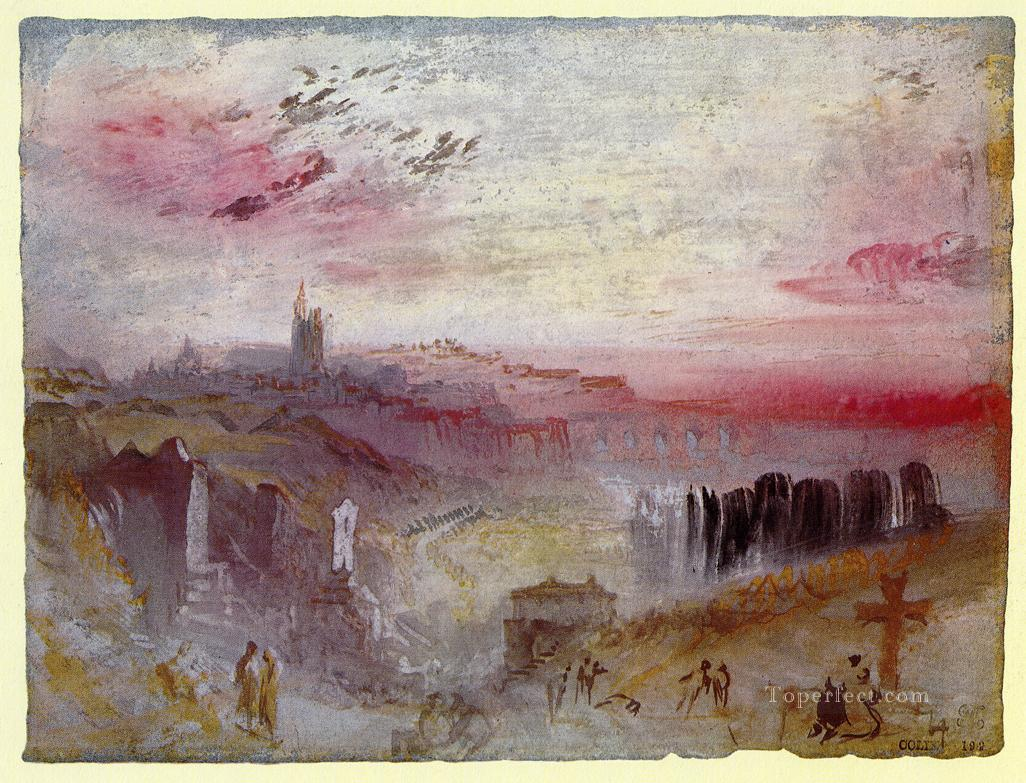 3 View over Town at Suset a Cemetery in the Foreground landscape Turner