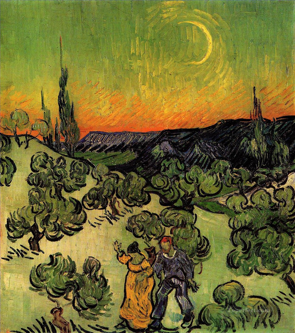 4 Landscape with Couple Walking and Crescent Moon Vincent van Gogh