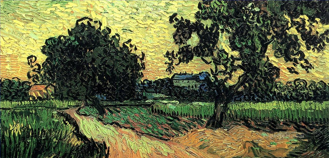 4 Landscape with the Chateau of Auvers at Sunset Vincent van Gogh