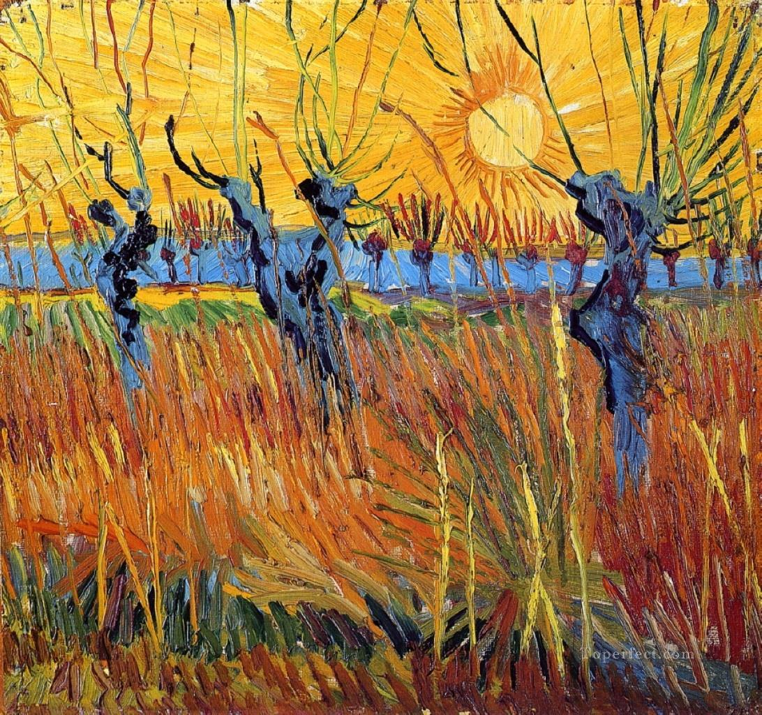 4 Pollard Willows and Setting Sun Vincent van Gogh