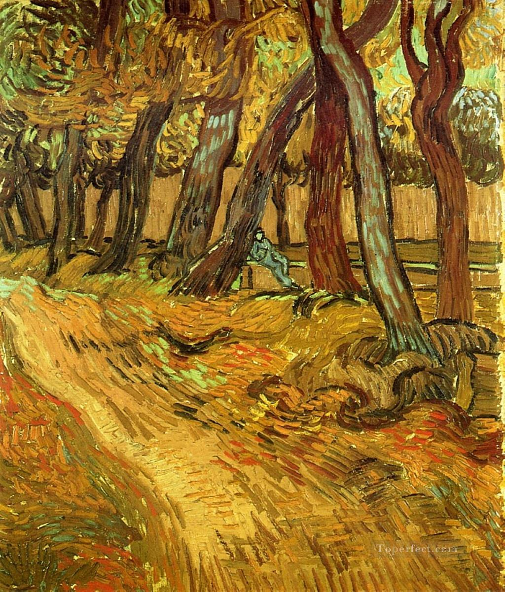 4 The Garden of Saint Paul Hospital with Figure Vincent van Gogh