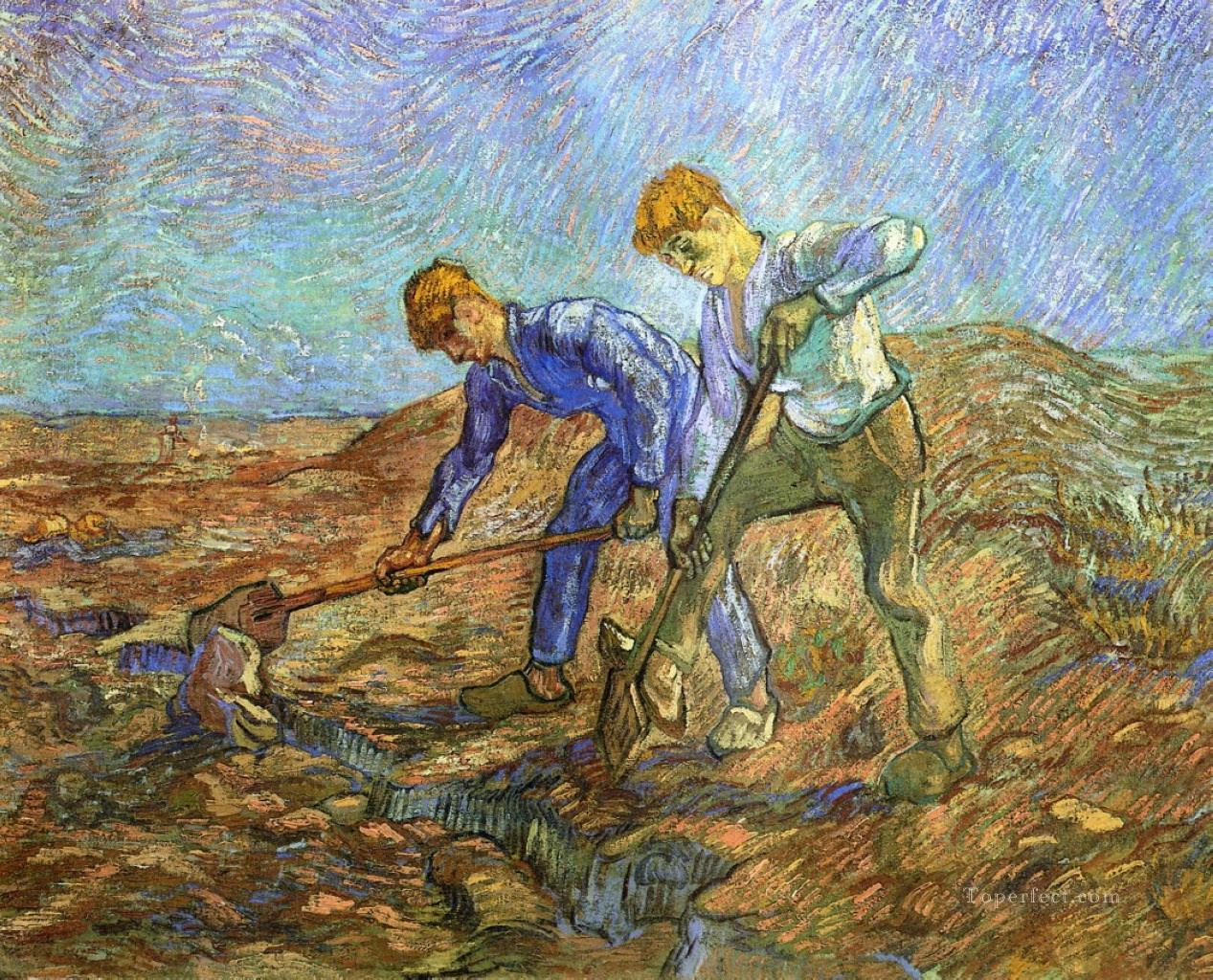 5 Two Peasants Diging after Millet Vincent van Gogh