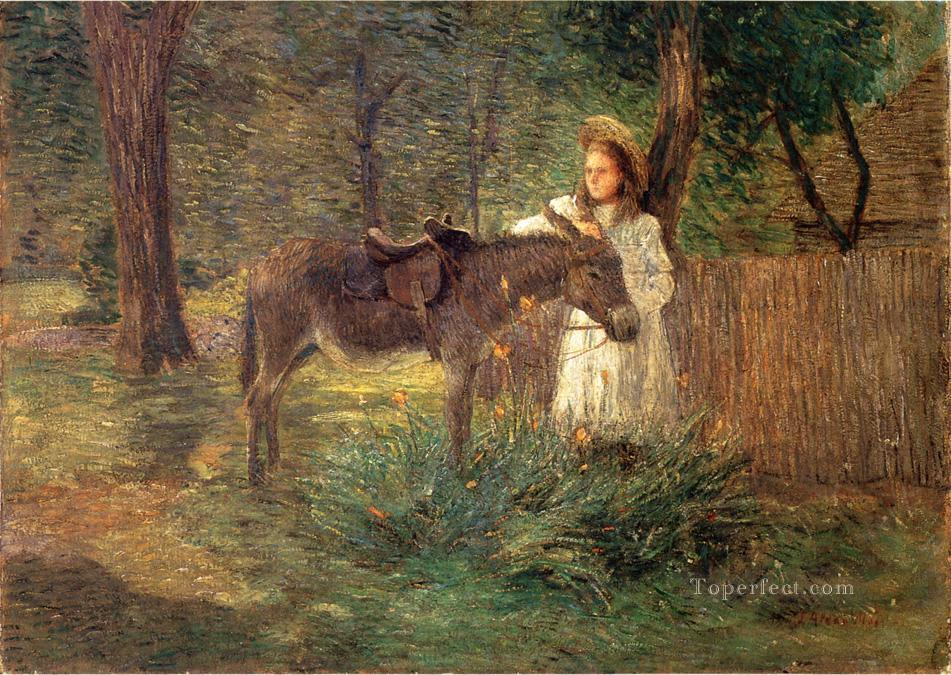4 After the Ride aka Visiting Neighbors impressionist Julian Alden Weir
