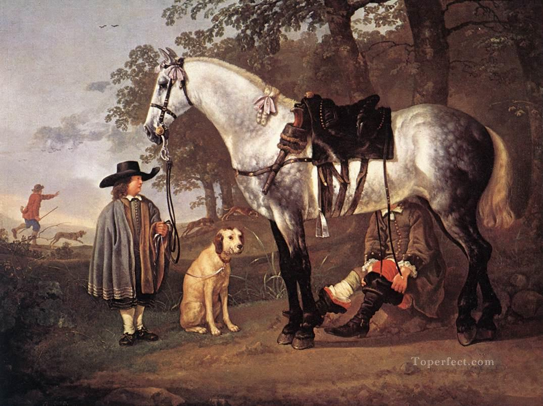 6 Grey Horse In A Landscape countryside painter Aelbert Cuyp