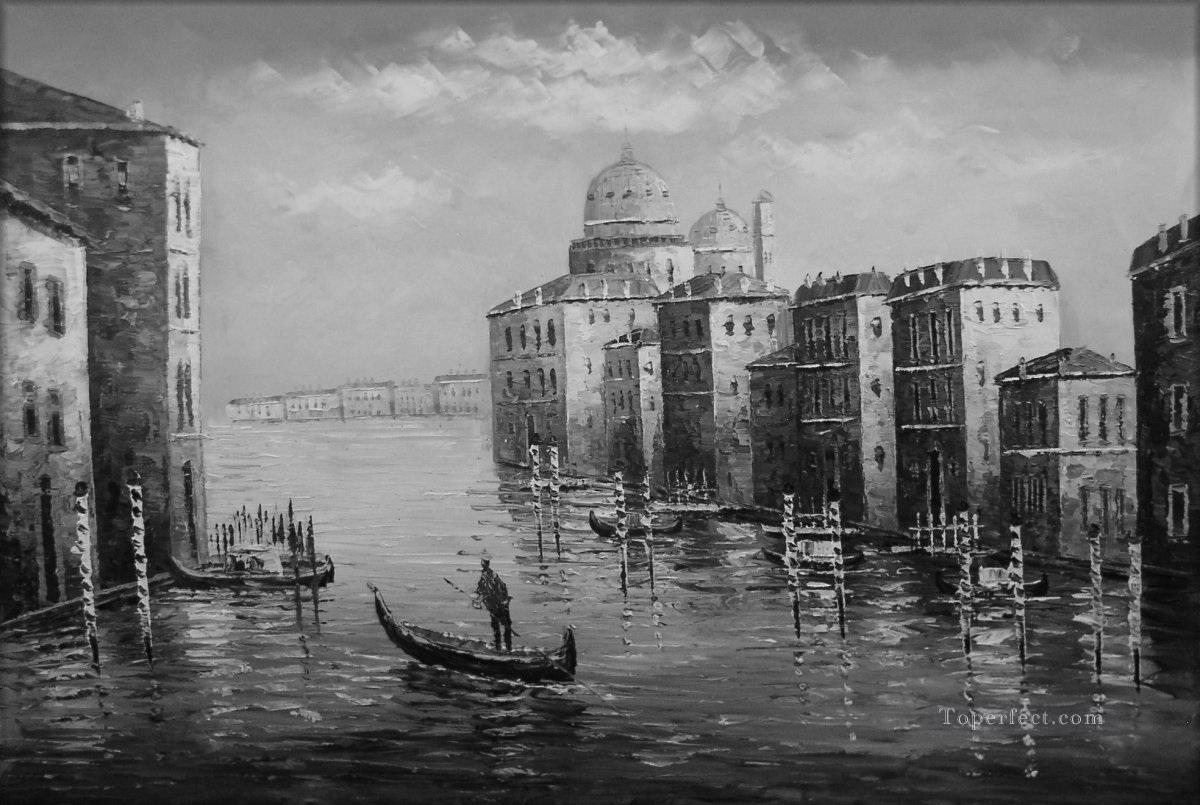 1 Black And White Venice 2 Oil Paintings