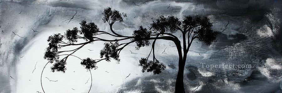 oil paintings of 2 tree and birds black and white art for sale by