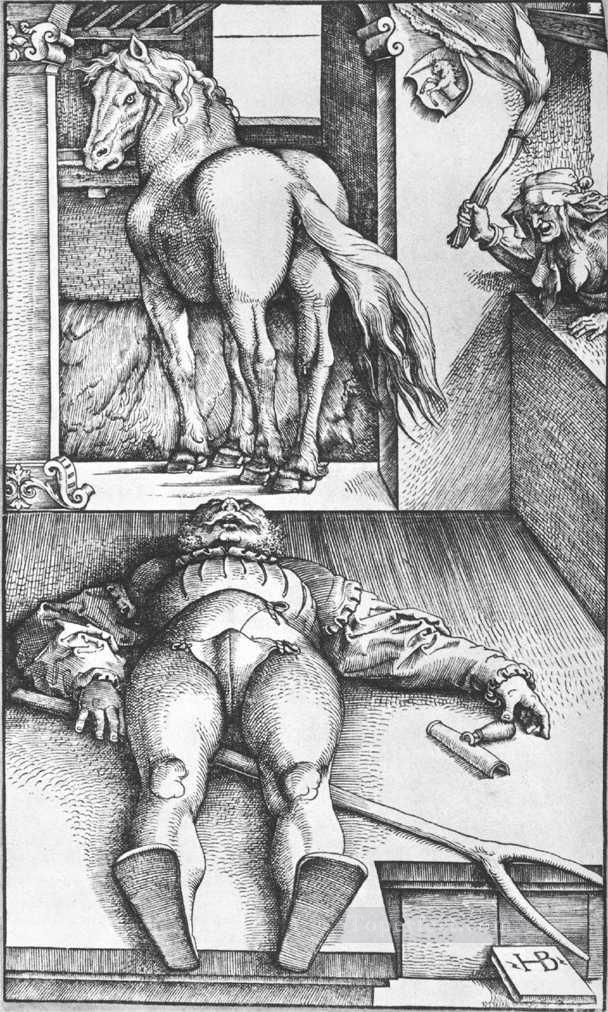 4 The Groom Bewitched Renaissance painter Hans Baldung black and white