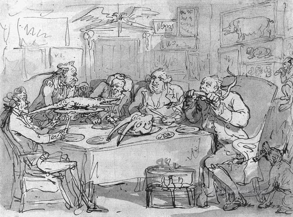 6 The Fish Dinner caricature Thomas Rowlandson black and white