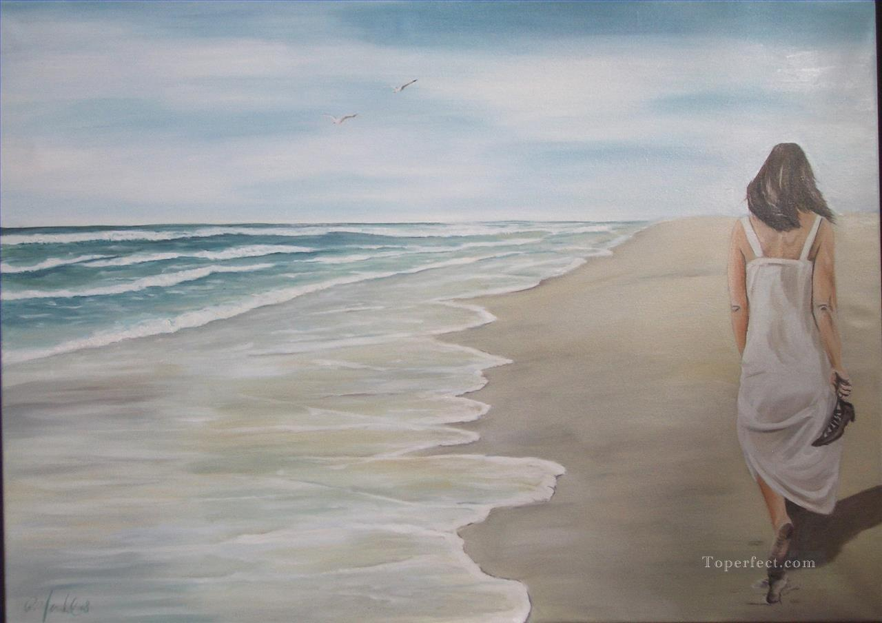 Paintings of 3 woman walk at beach watermark art for sale by artists