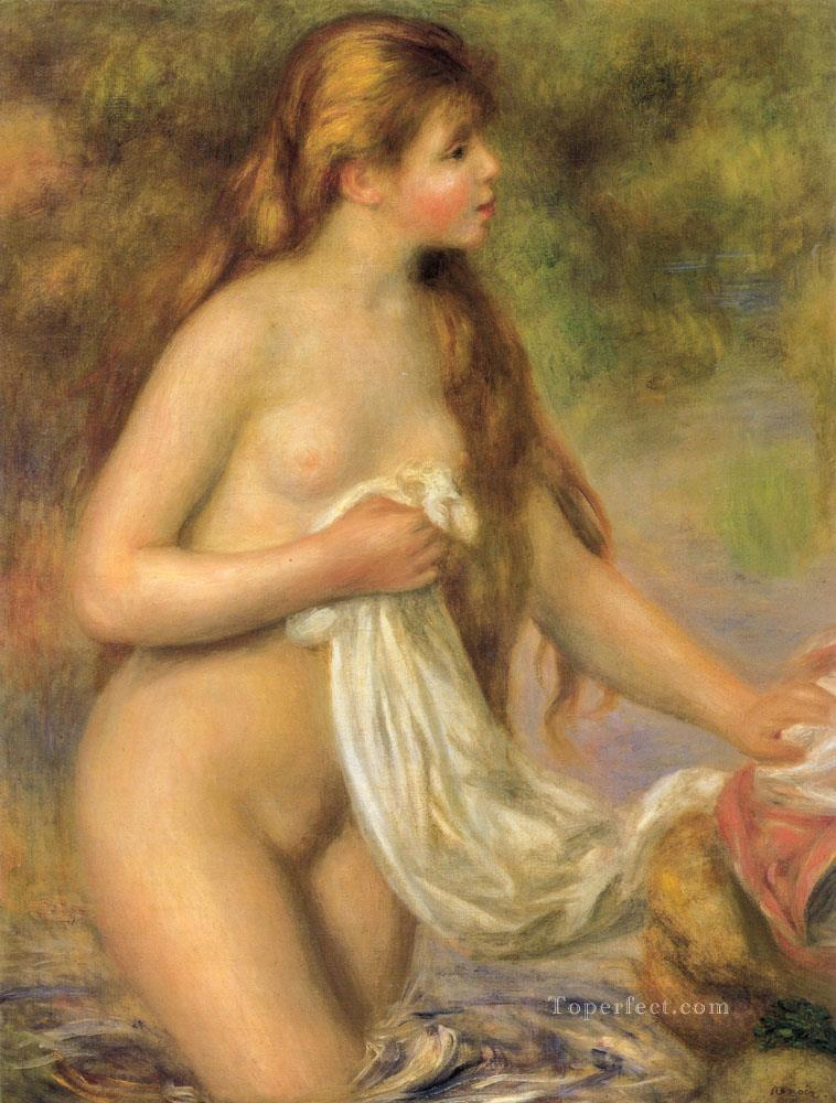 4 Bather with Long Hair female nude Pierre Auguste Renoir