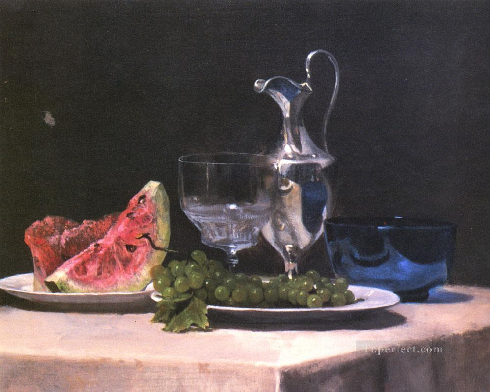 2 Still life study of silver glass and fruit painter John LaFarge