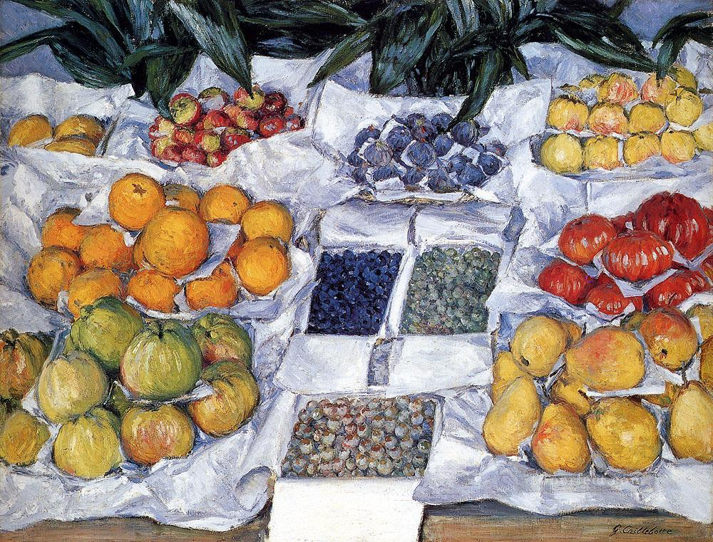3 Fruit Displayed On A Stand Impressionists Gustave Caillebotte still lifes